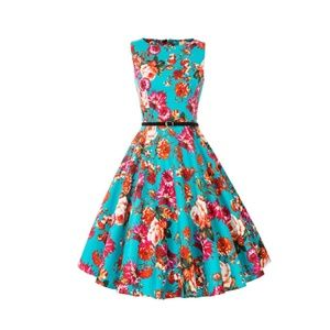 Floral-64 Boatneck Vintage Tea Belted Dress